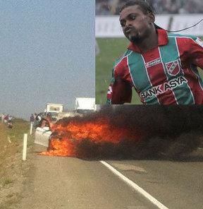 TKİ Tavşanlı Linyitspor'da futbolcu Akem Agbetu'nun kullandığı otomobil alev aldı