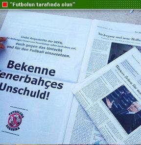 UEFA Disiplin Kurulu'nda duruşmalı ve sözlü savunma yapan Başkan Aziz Yıldırım ve yöneticilere, gazete ilanlı destek geldi