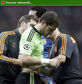 Galatasaray-Real Madrid maçında İspanyol ekibinin kalecisi Iker Casillas sakatlandı.