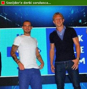 Galatasaray'ın futbolcusu Wesley Sneijder ile Fenerbahçe forması giyen Dirk Kuyt, İnteraktif Pazarlama Zirvesine katıldı